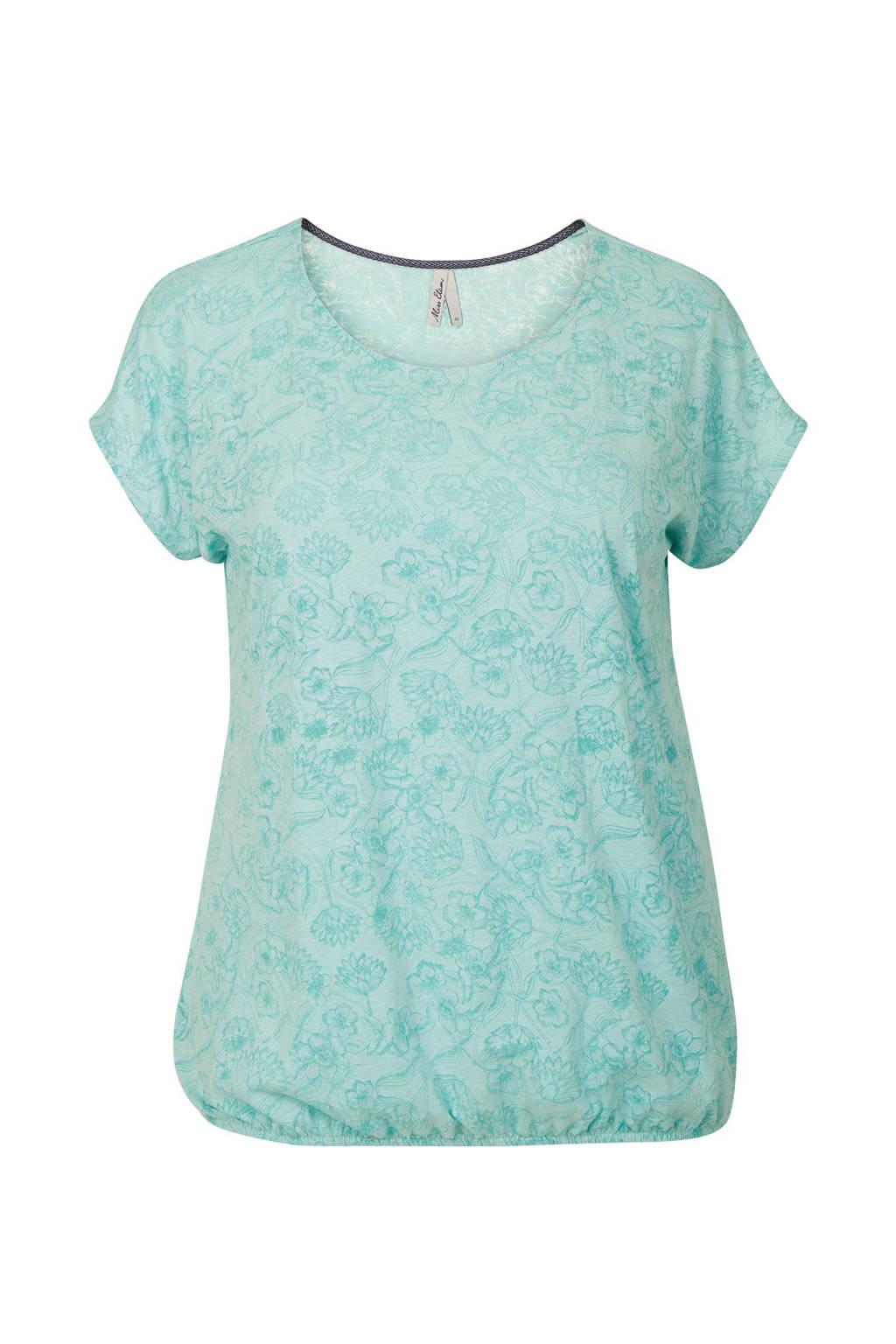 Miss Etam Plus T-shirt met all-over print mintgroen, Mintgroen