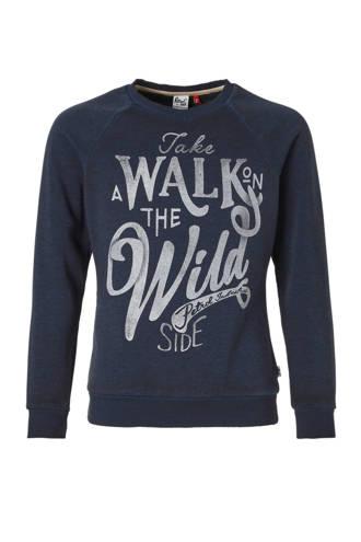 sweater met tekstopdruk marine