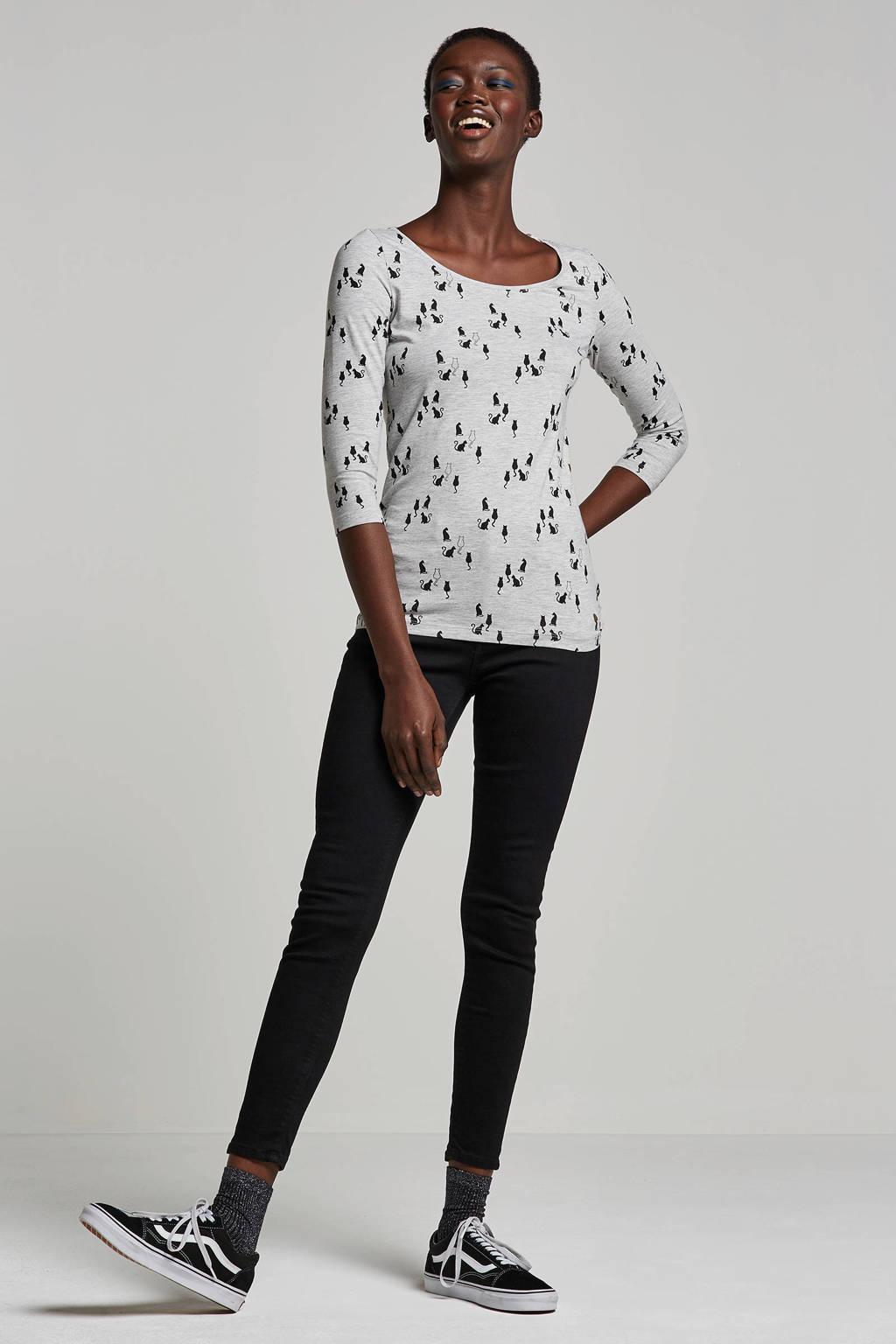 ESPRIT Women Casual T-shirt met all over print, Grijs/zwart