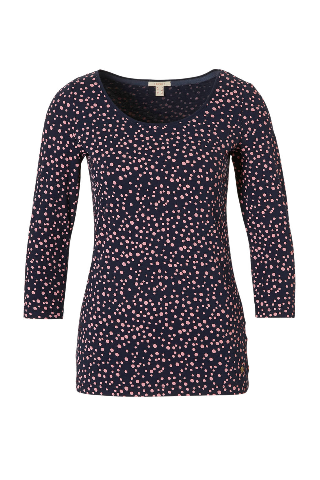 ESPRIT Women Casual T-shirt met stippen, Donkerblauw/roze
