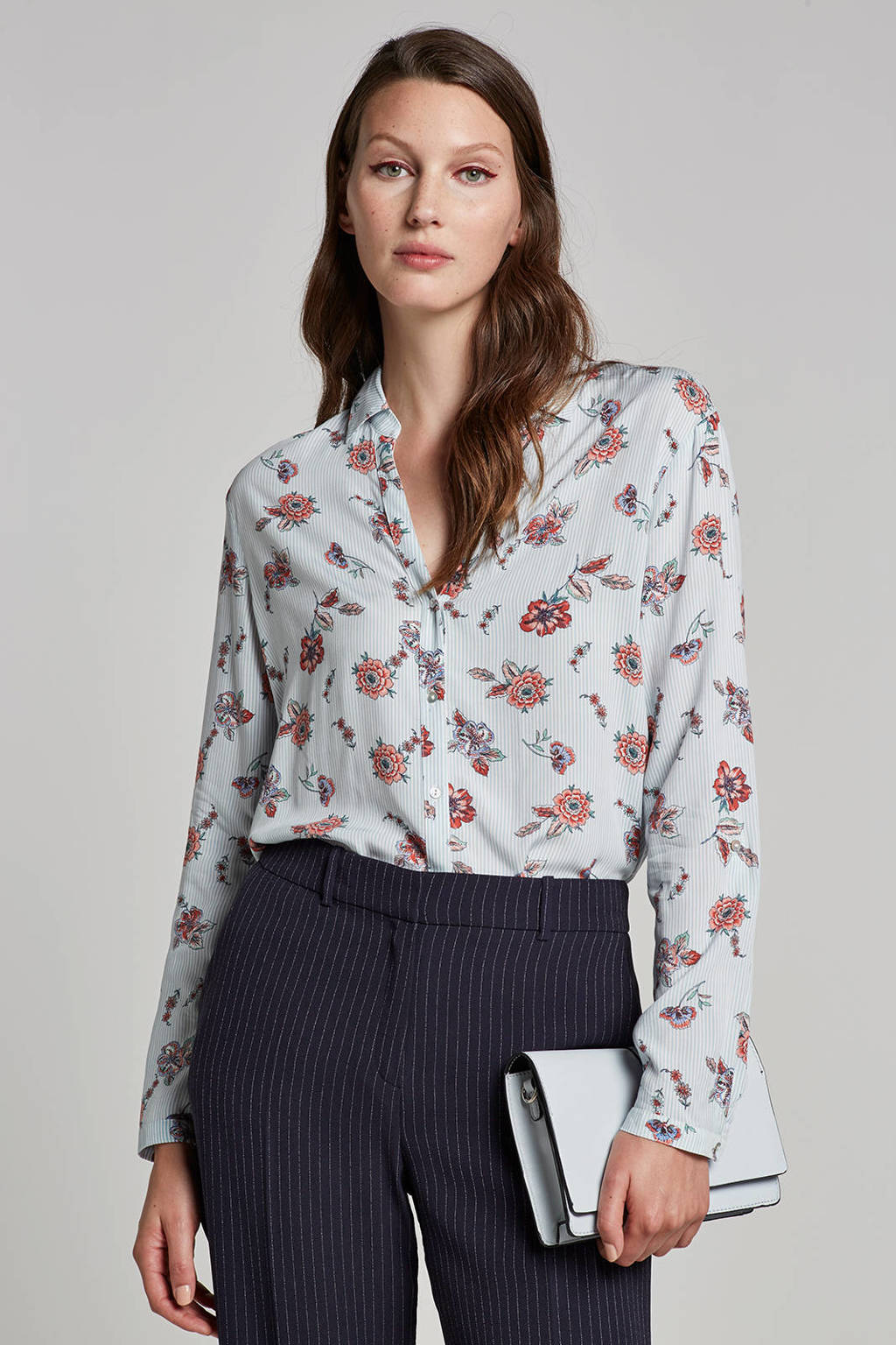 ESPRIT Women Casual blouse met strepen en bloemenprint, Lichtblauw/wit/rood