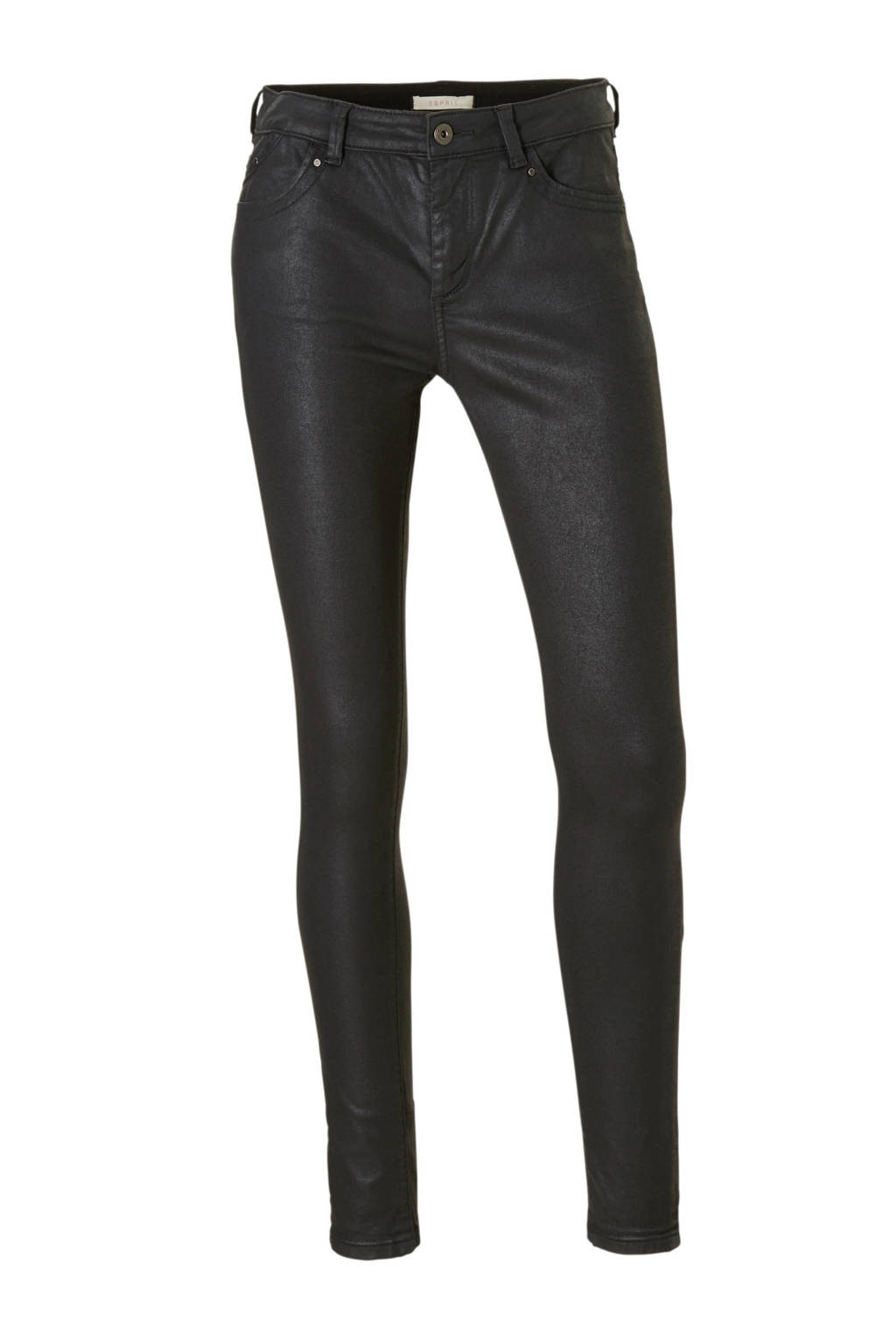 ESPRIT Women Casual coated skinny fit broek, Zwart