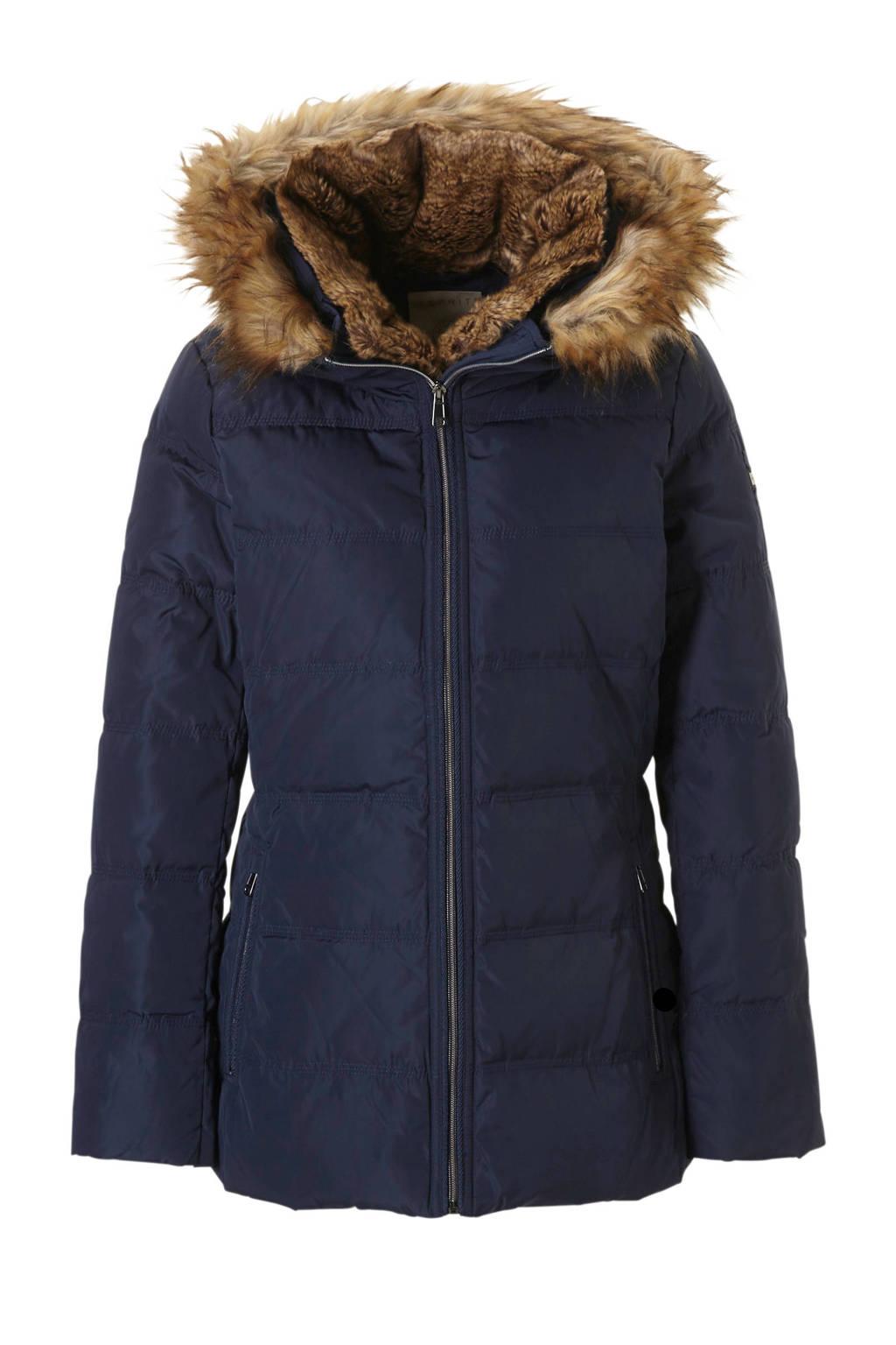 ESPRIT Women Casual winterjas, Donkerblauw/bruin