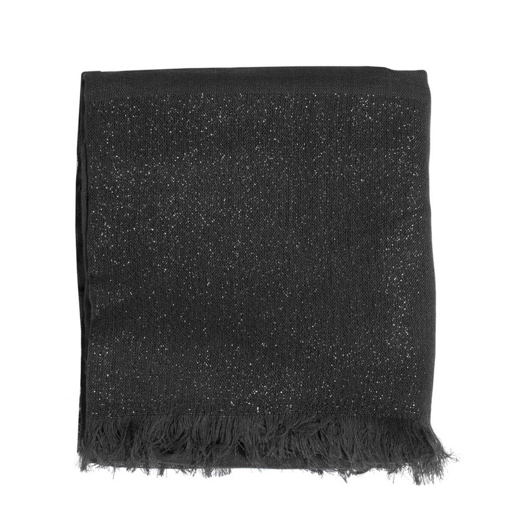 Parfois sjaal met metaalgaren zwart, Zwart