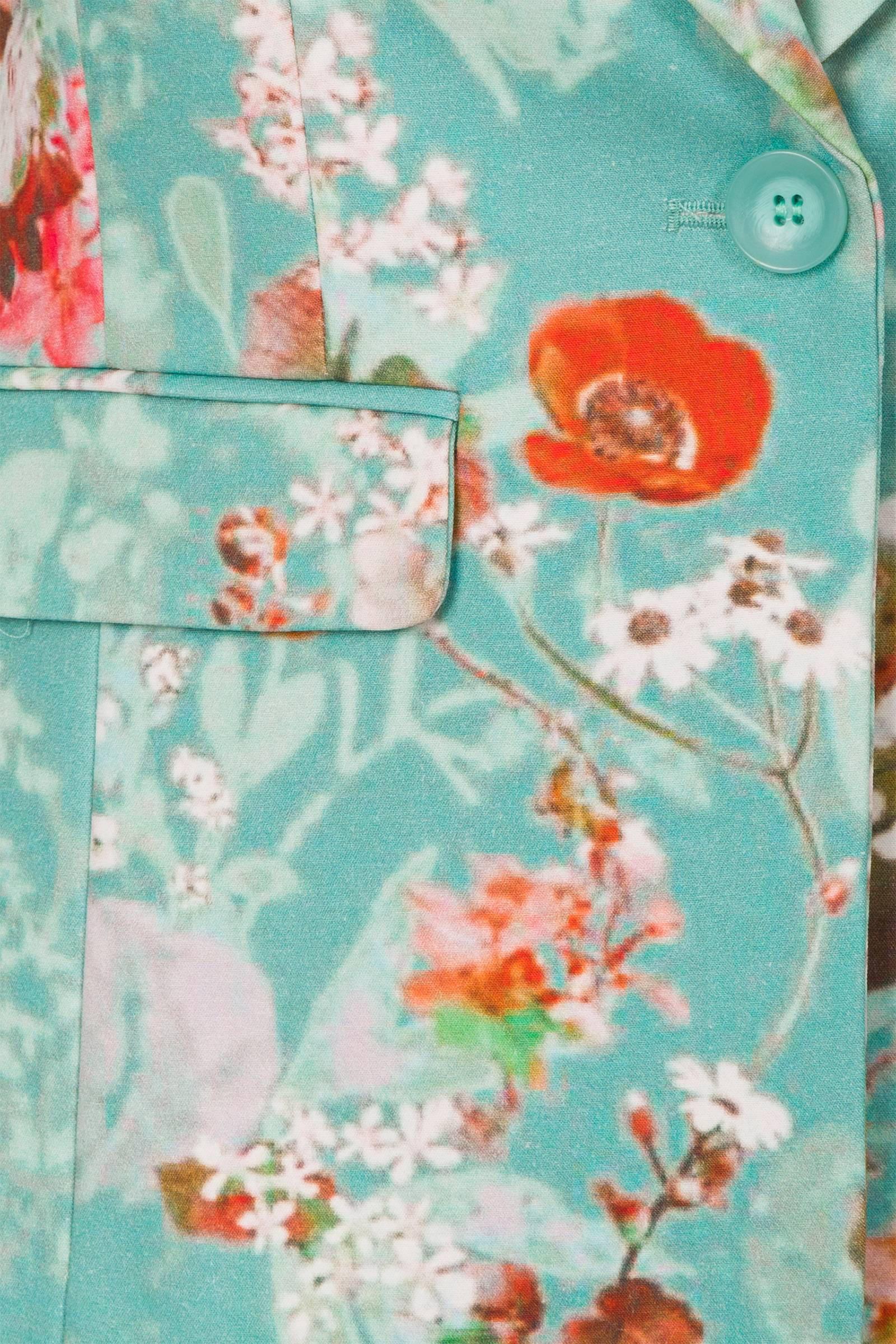 gebloemde blazer turquoise