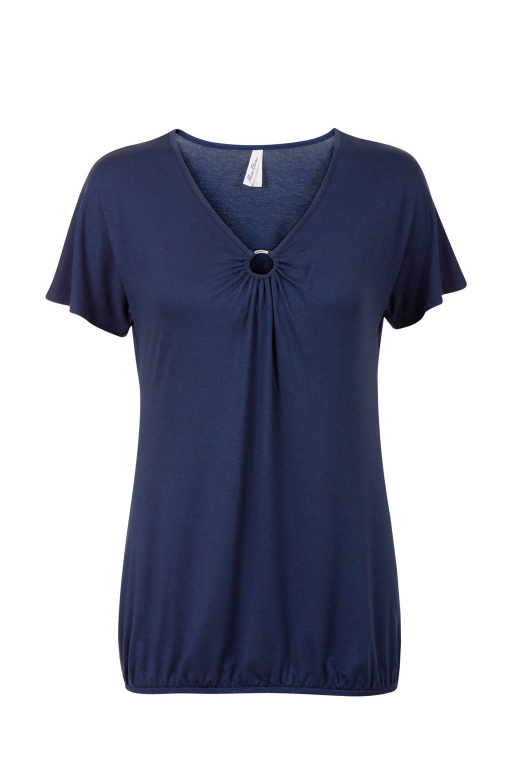 Miss Etam Regulier top met ringdetail donkerblauw, Donkerblauw