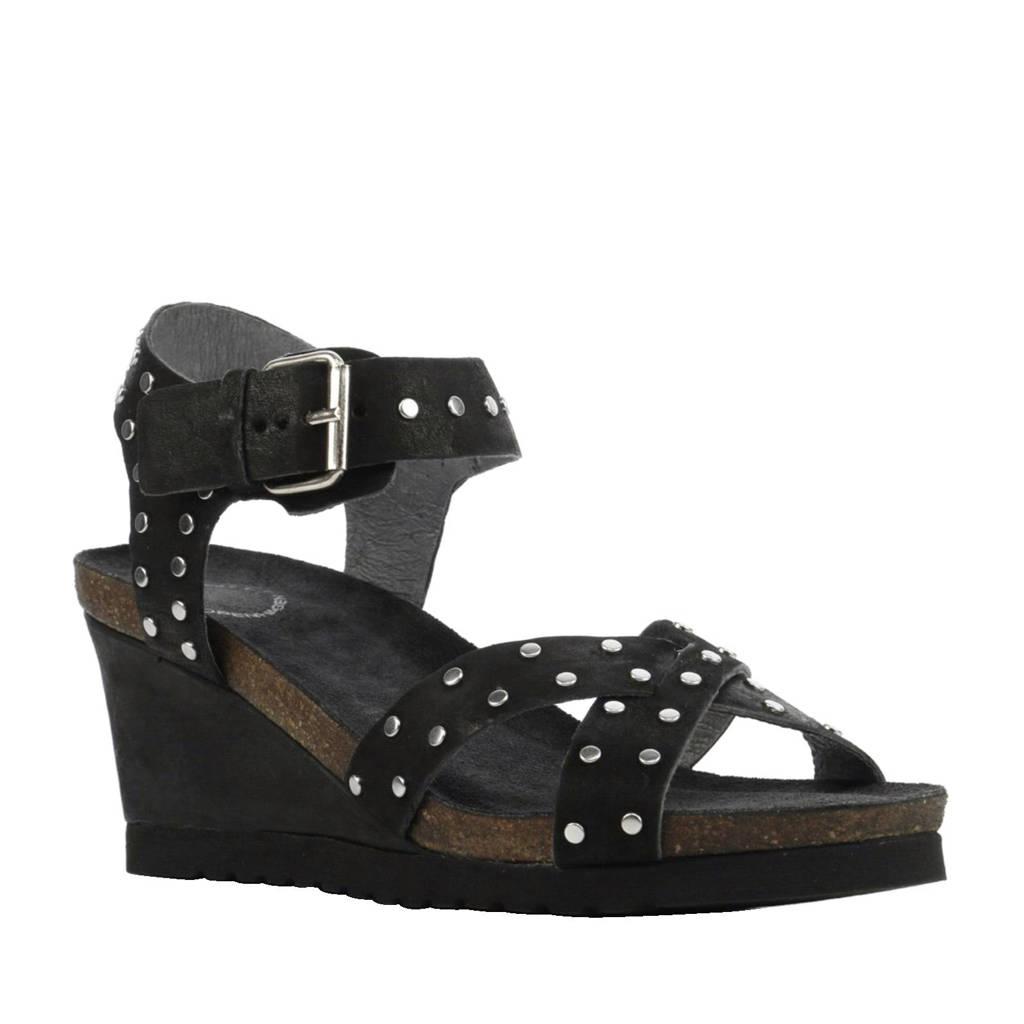 Cashott leren sandalettes met studs, Zwart/zilver