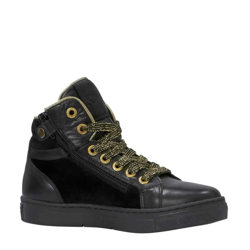 Kanjers  leren sneakers zwart, Zwart