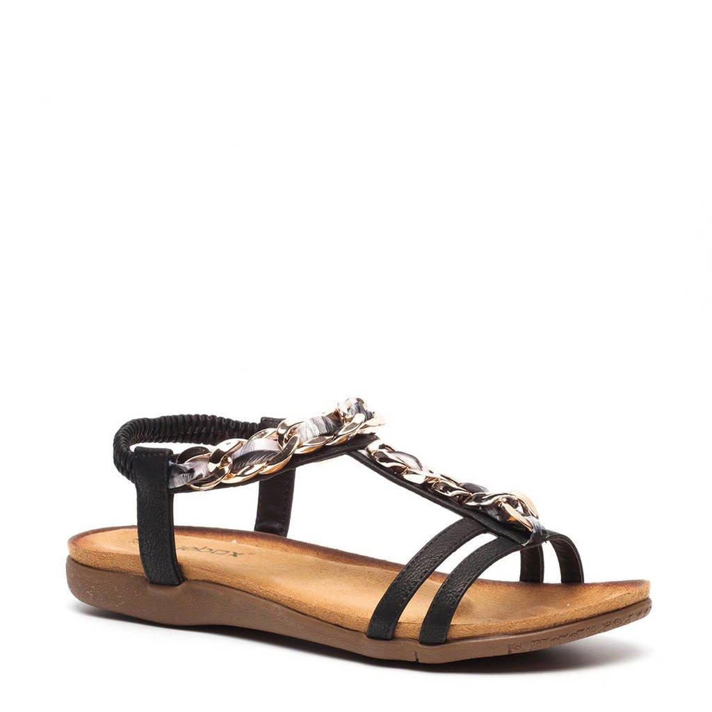Scapino Blue Box sandalen met ketting, Zwart/Zilver/Goud