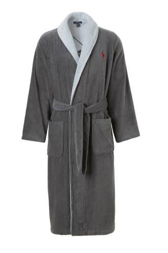 badjas donkergrijs met merk logo