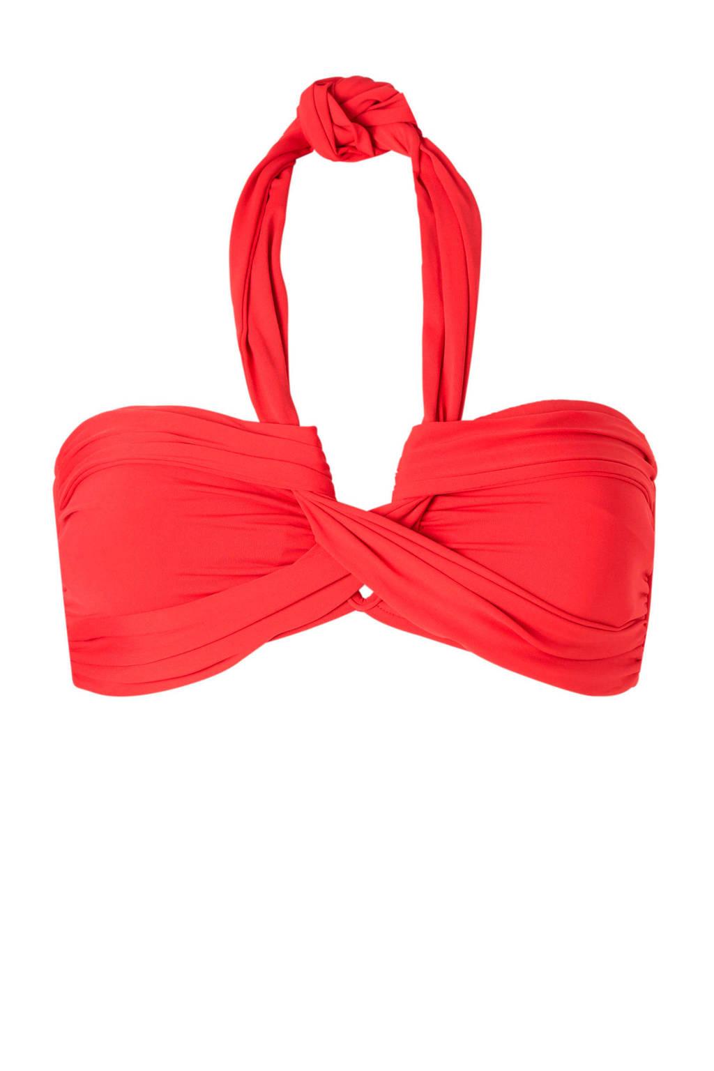 Seafolly Mix & Match bandeau bikinitop, Koraal rood