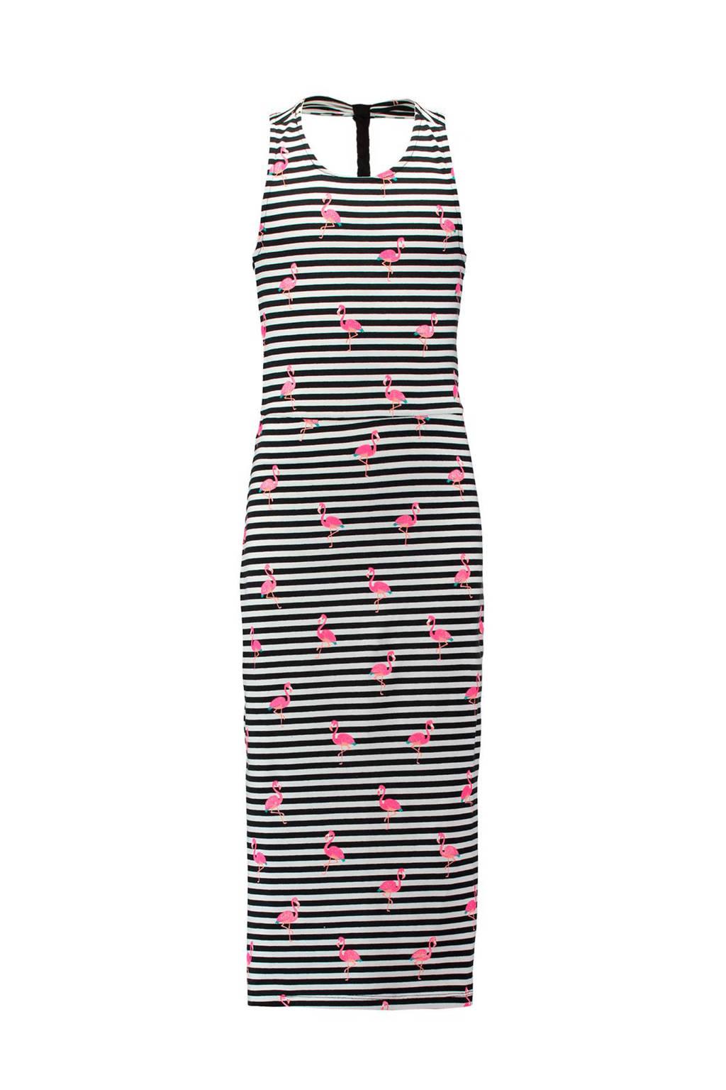 e8454a7af4ed7f CoolCat gestreepte maxi jurk zwart wit