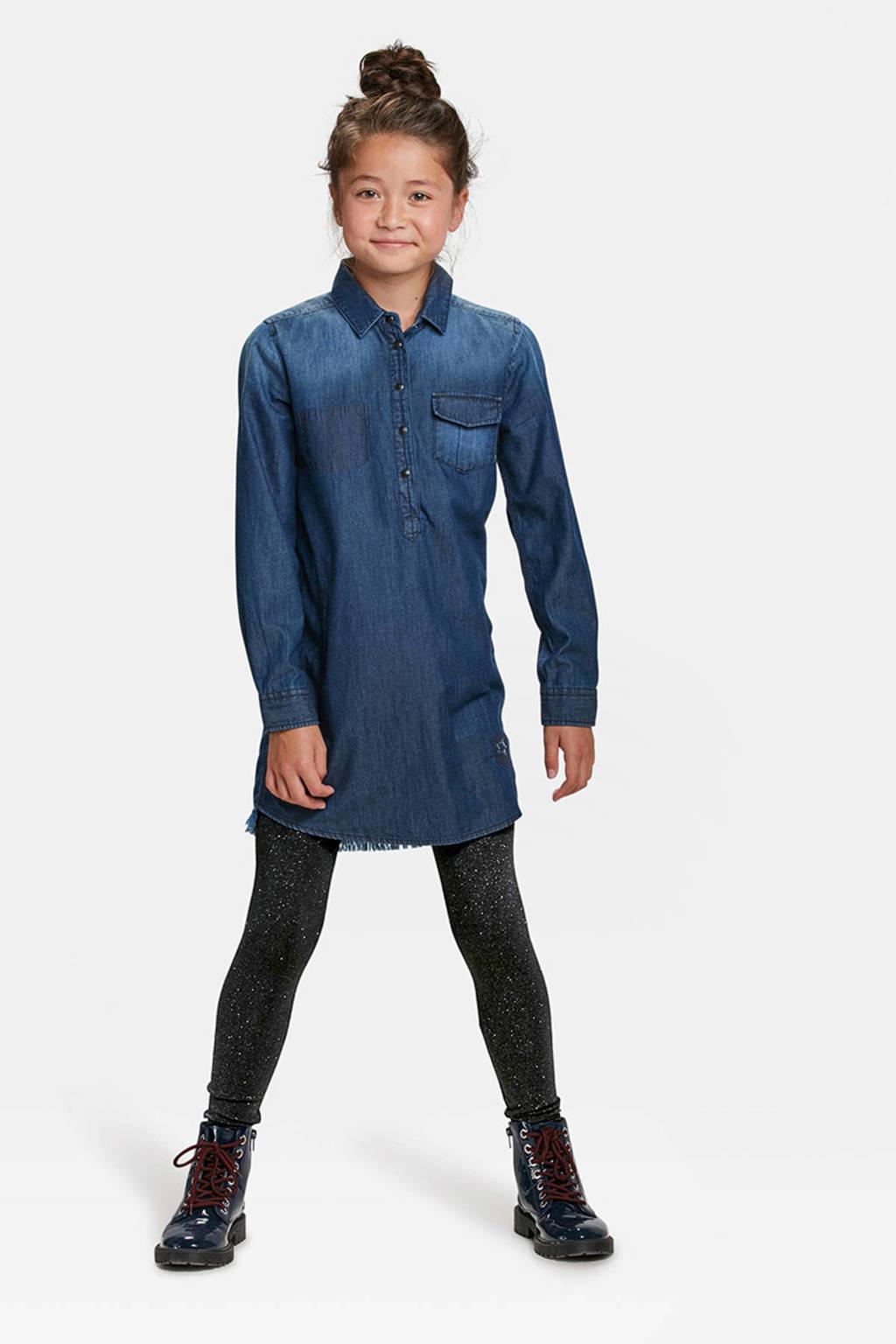 WE Fashion Fundamental legging met glitters zwart, Zwart