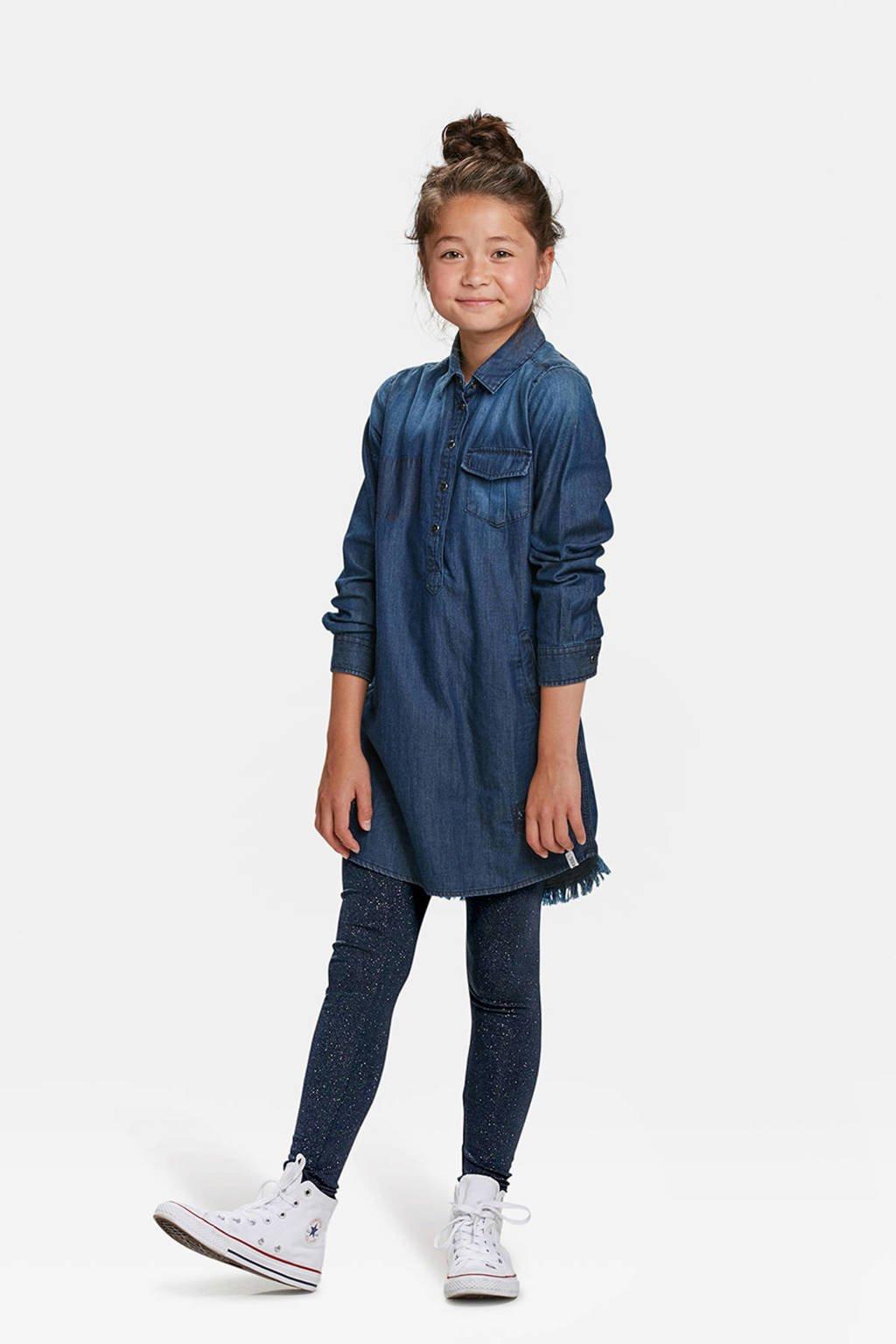WE Fashion Fundamental glitter legging blauw, Donkerblauw