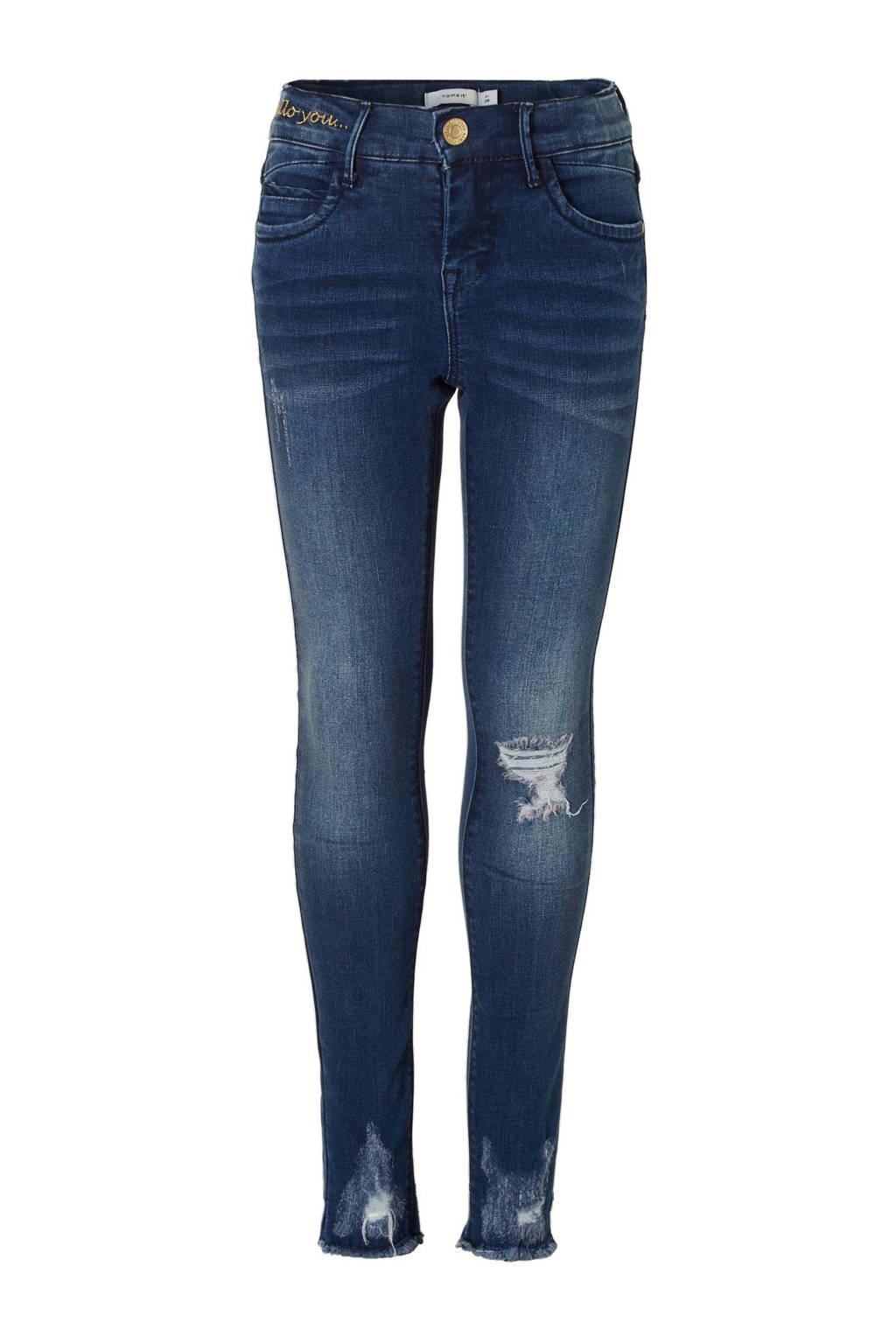 name it KIDS Polly skinny fit jeans, Dark blue denim
