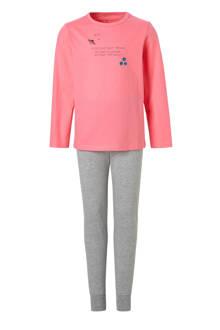 KIDS pyjama met tekst roze/grijs