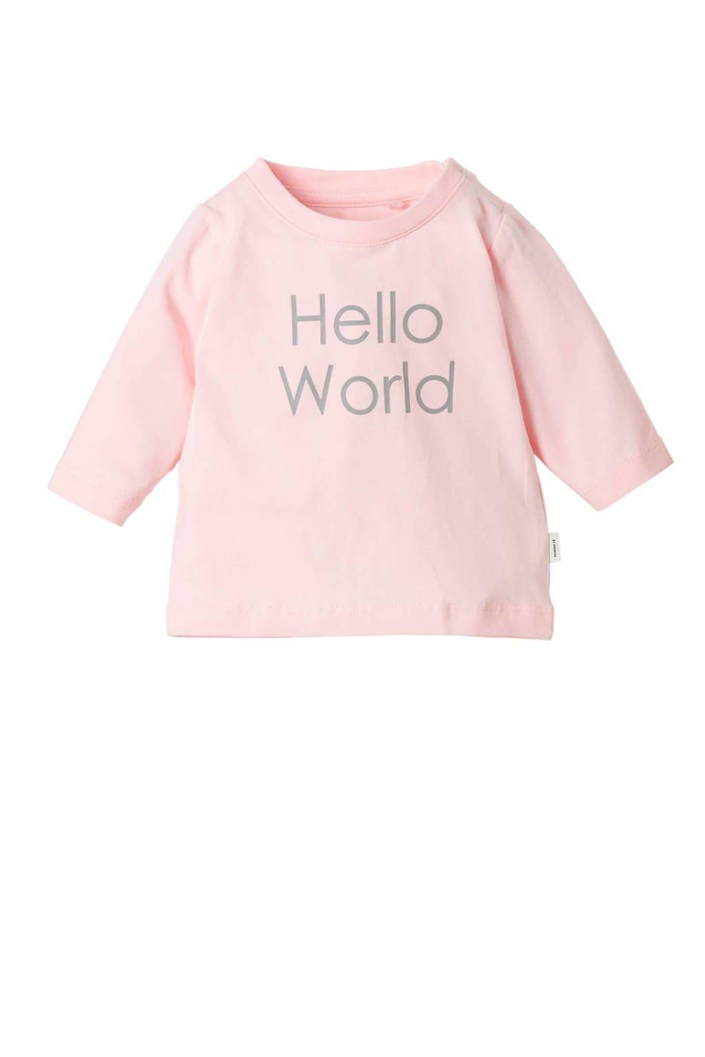 NAME IT BABY longsleeve met tekst roze/grijs, Roze/grijs