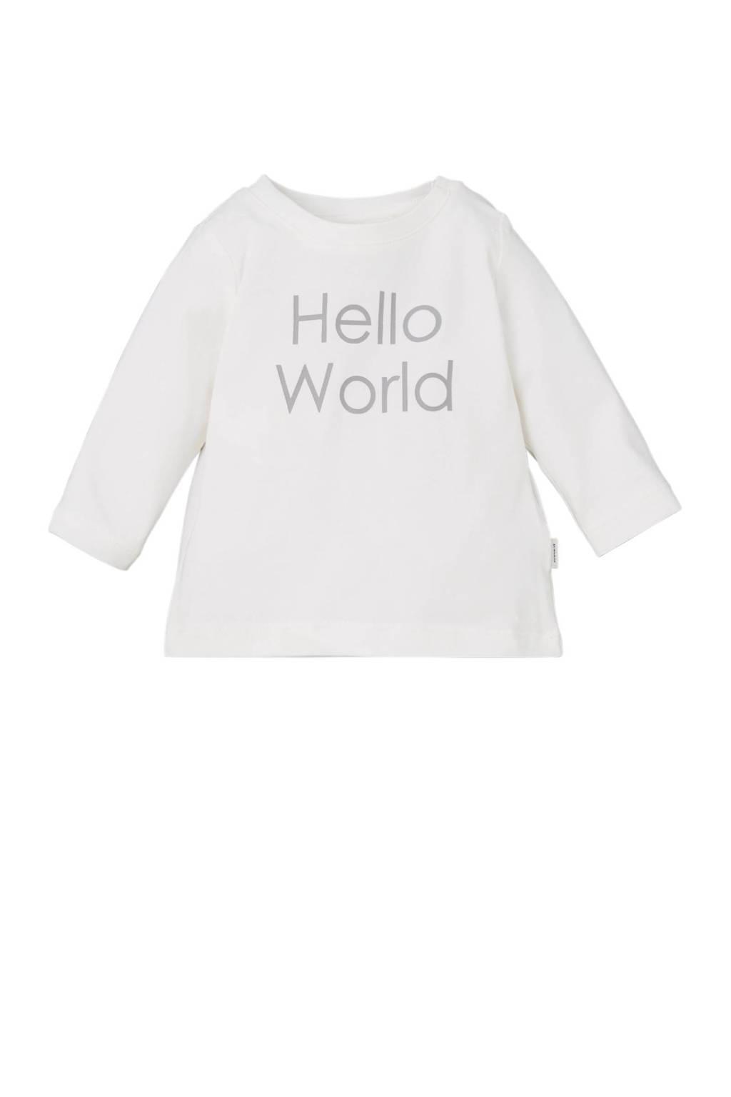 name it BABY newborn baby longsleeve, Ecru/grijs