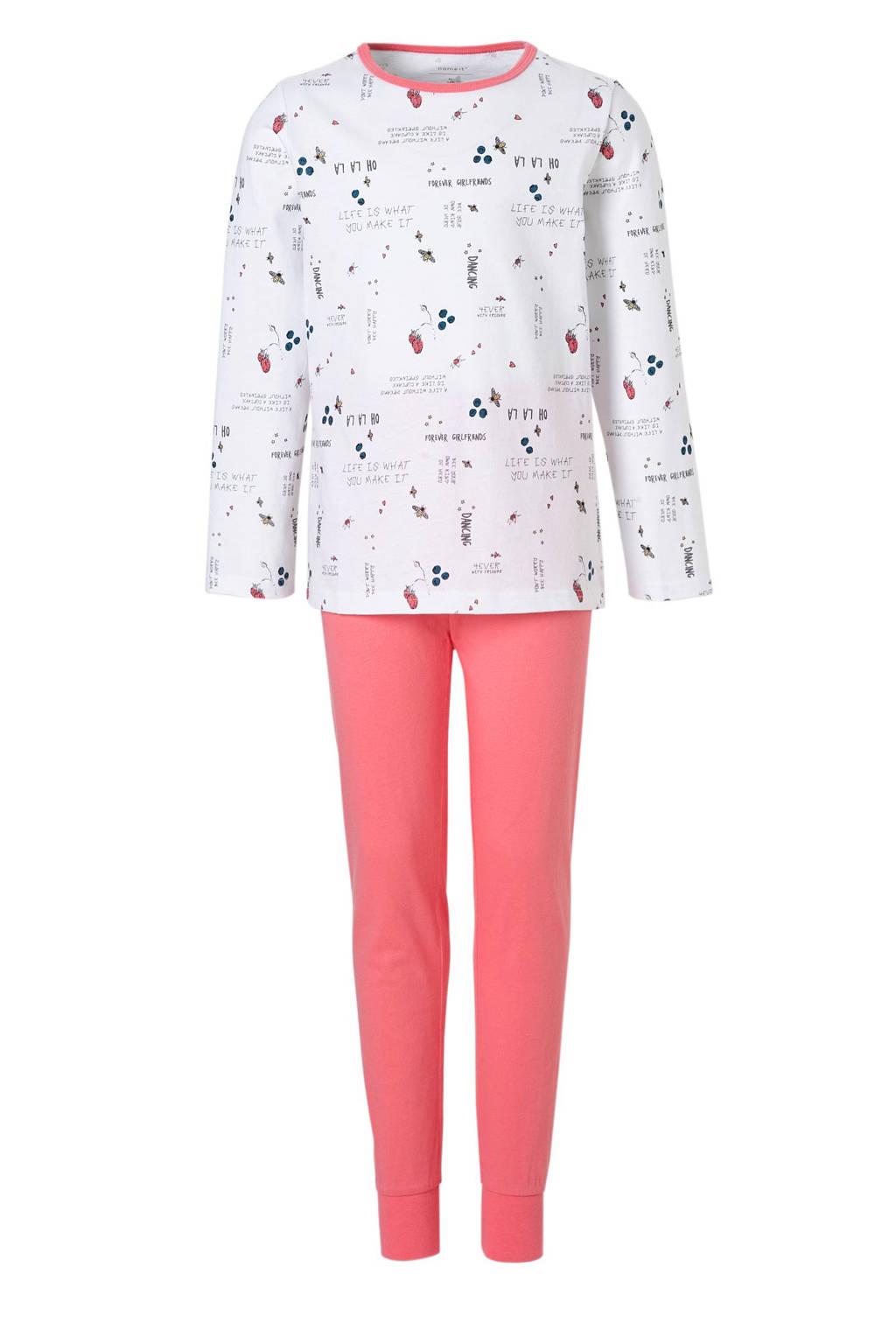 name it KIDS pyjama met tekst wit/roze, Wit/roze