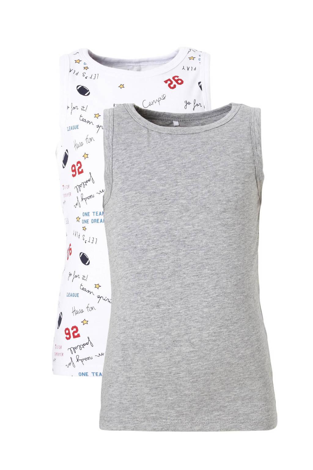 name it MINI hemd - set van 2, Wit/grijs