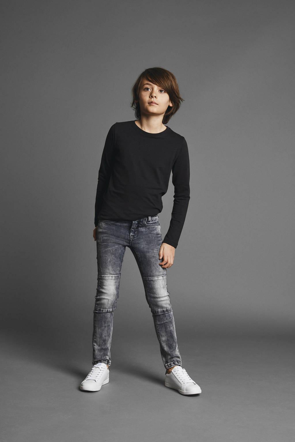 NAME IT KIDS x-slim fit jeans Theo Tim met dubble laag stof op de knieën, Grijs