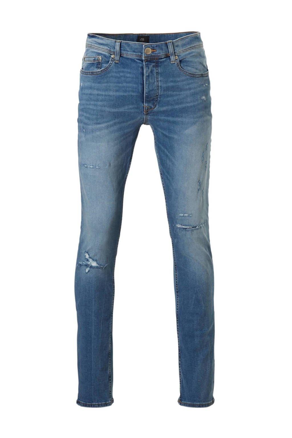 River Island slim fit jeans slijtagedetails, Blauw