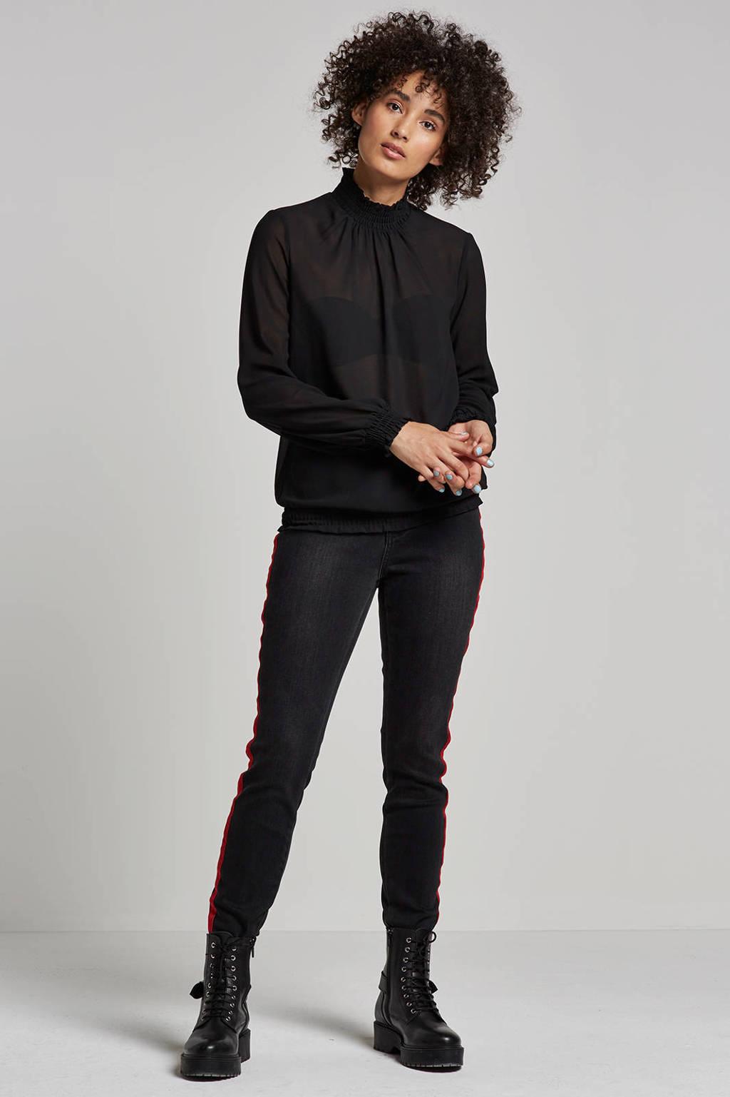 VERO MODA jeans met zijstreep, Zwart/rood
