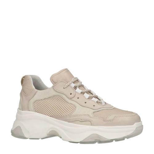 Sacha sneakers met leer beige