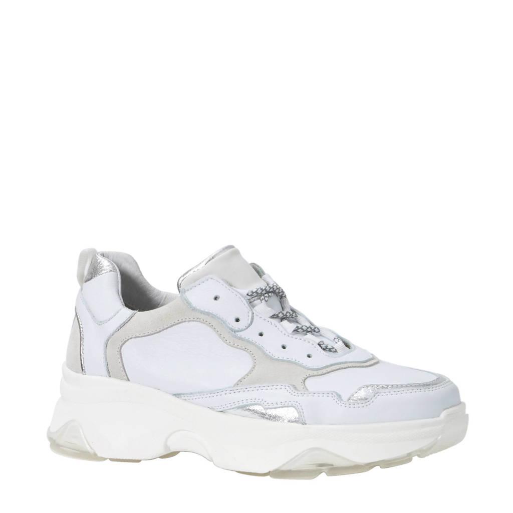 Sacha  sneakers met leer wit, Wit/zilver