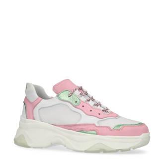 sneakers met leer wit/roze