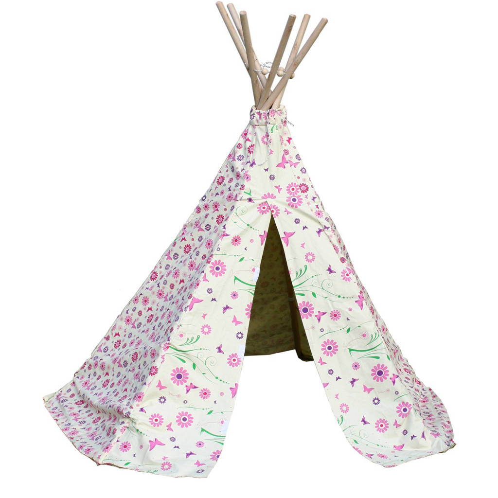 Garden Games Speeltent tipi Flowers, Wit/roze