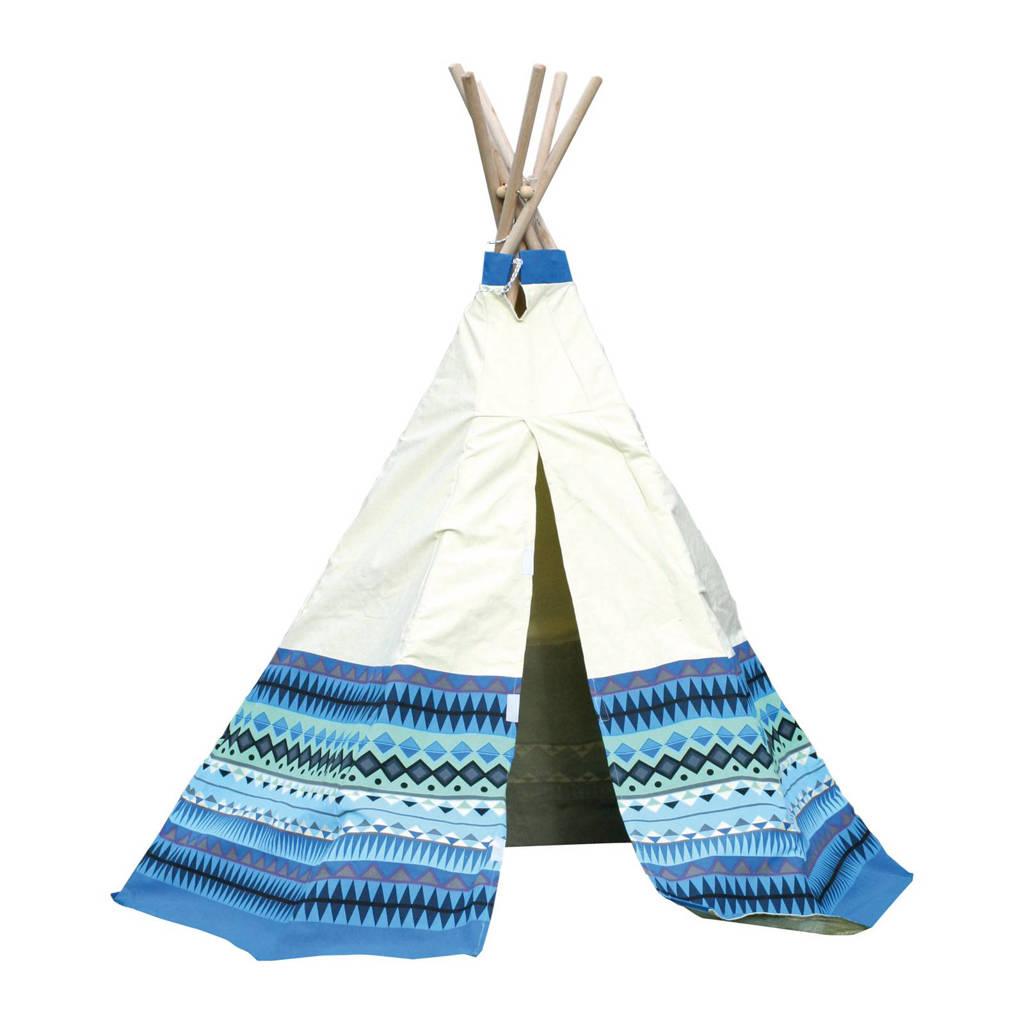 Speeltent tipi Azteken, Wit/blauw