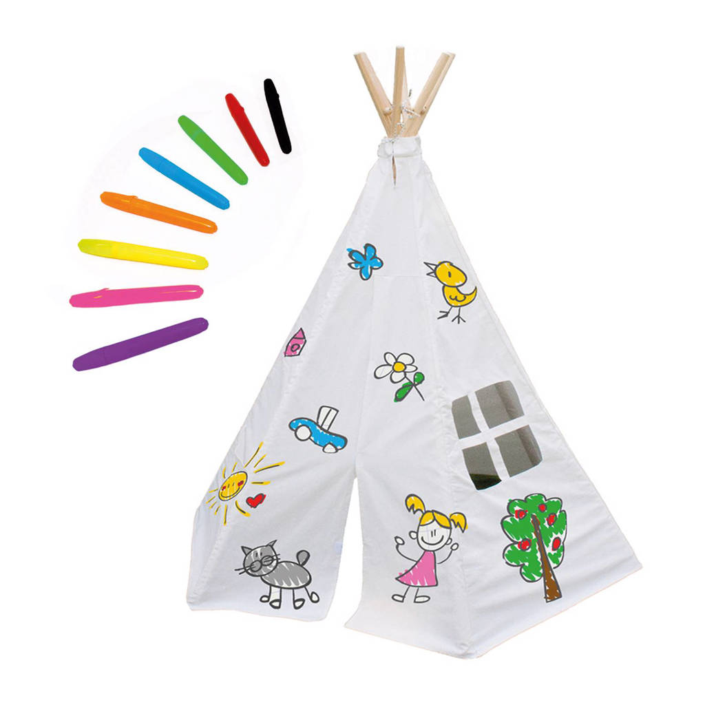 Garden Games Speeltent tipi Decorate your own, Wit