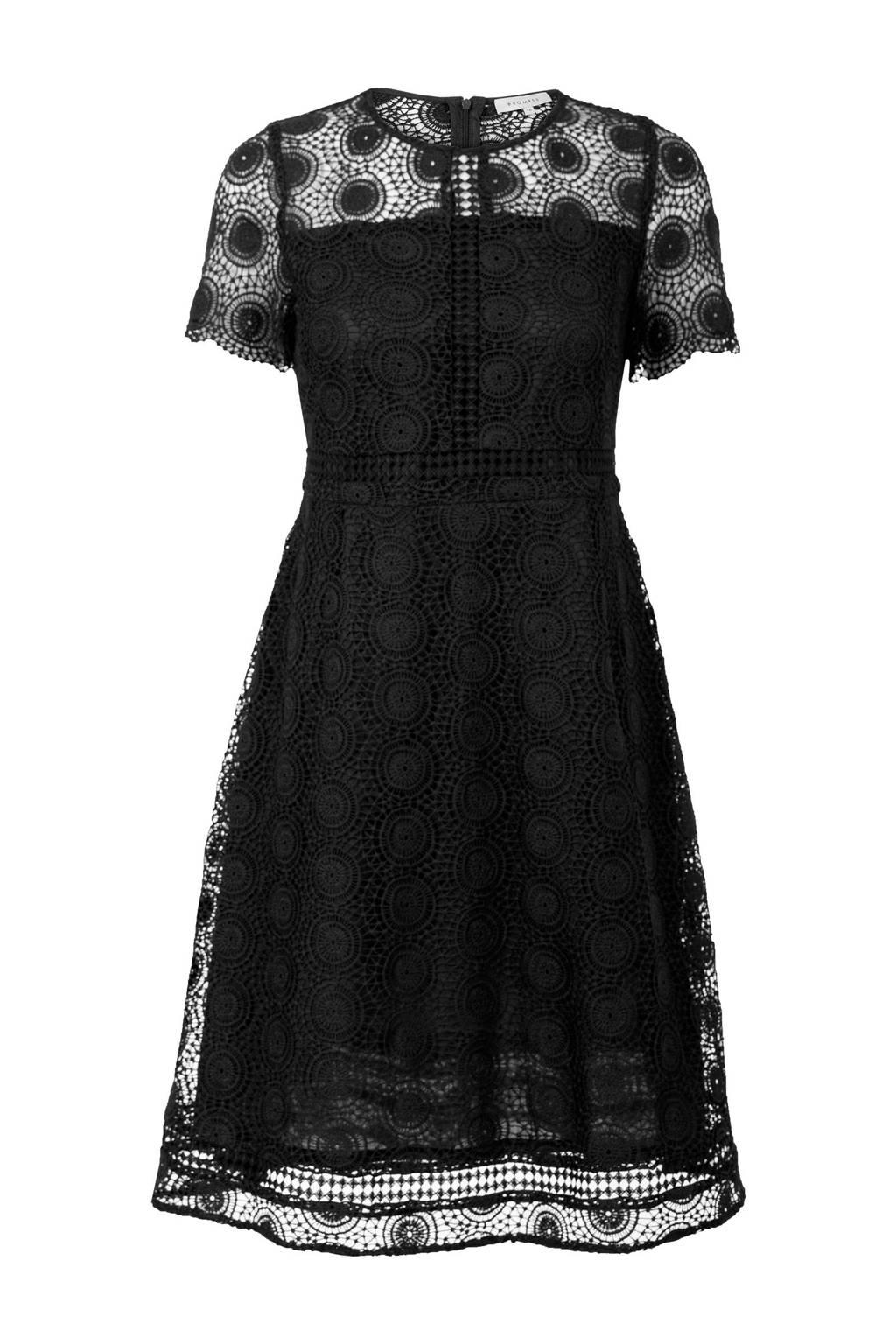 Promiss kanten jurk zwart, Zwart