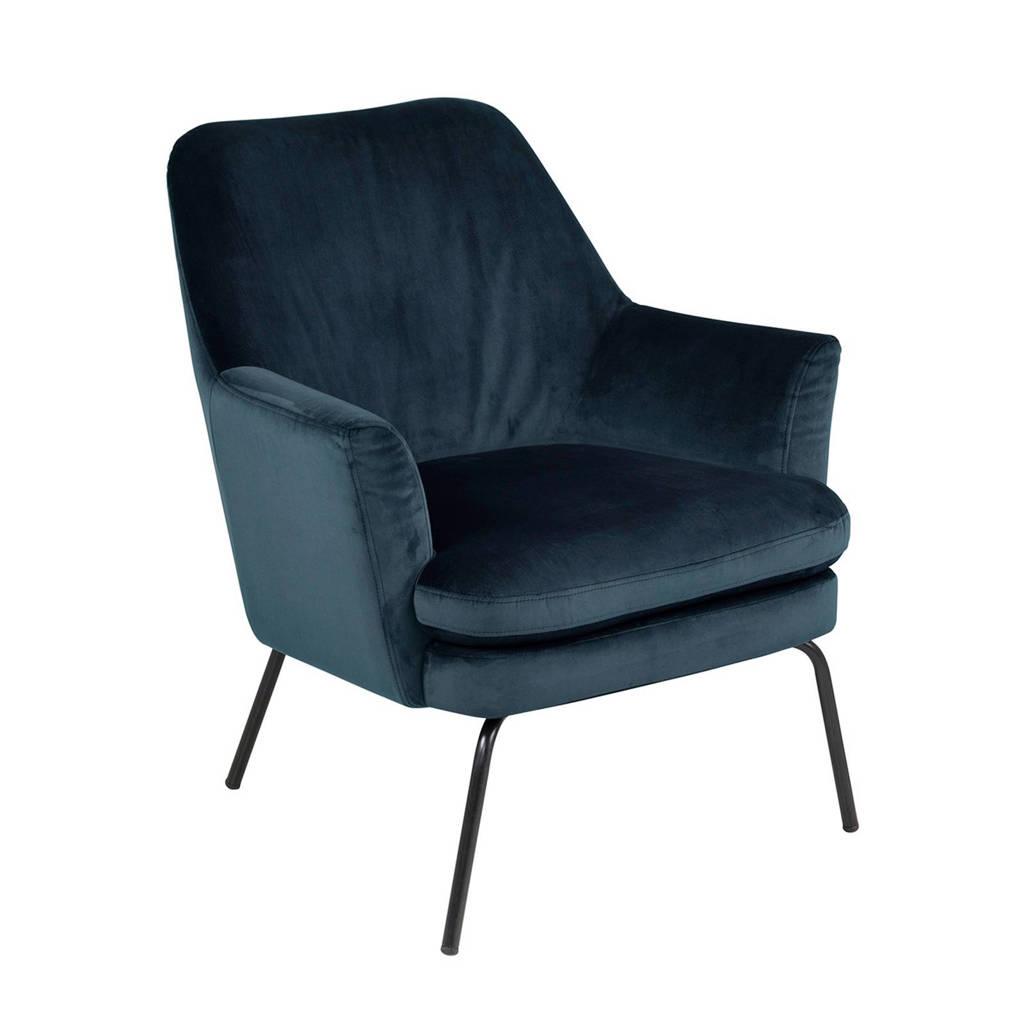 anytime fauteuil Romy velours, Donkerblauw (velours)