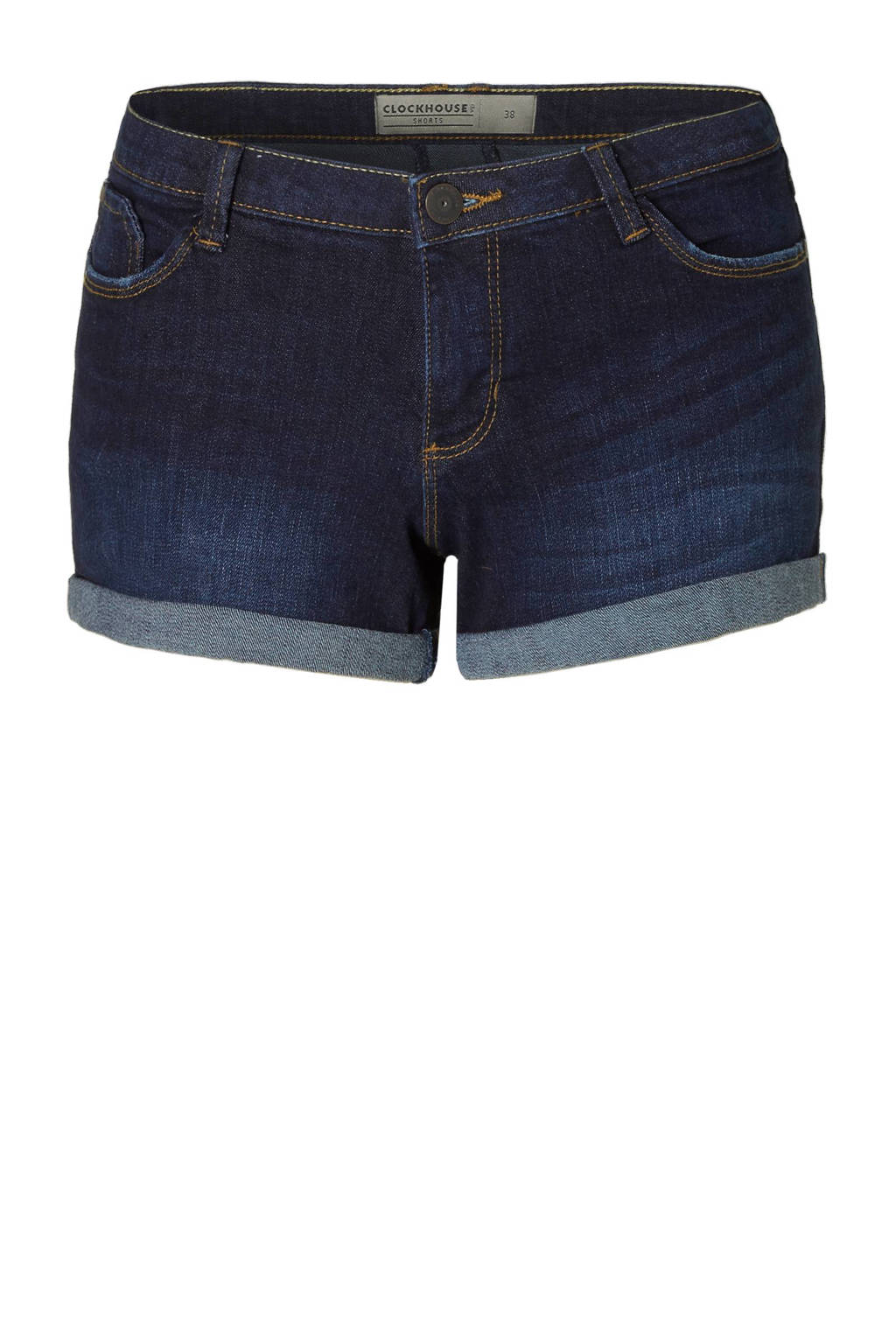C&A Clockhouse slim fit jeans short donkerblauw, Donkerblauw
