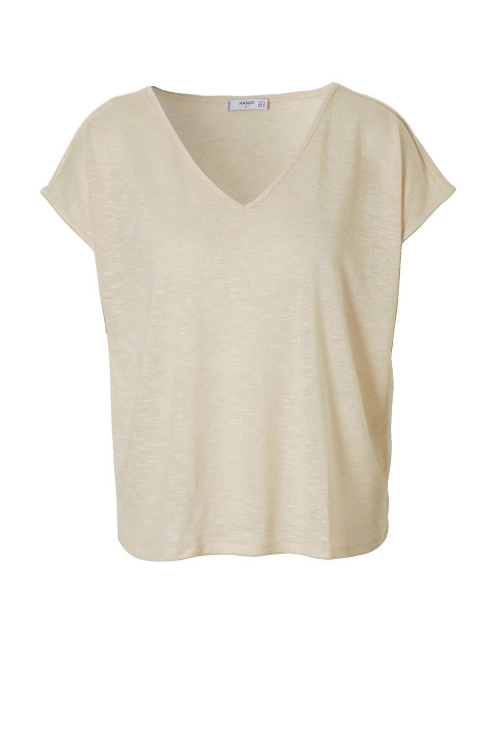 Mango T-shirt lichtbeige, Lichtbeige