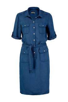 blousejurk met linnen blauw