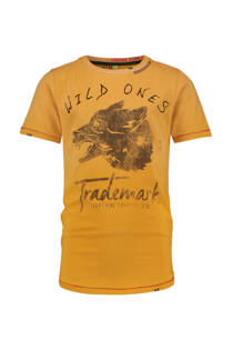 Vingino T-shirt Haddis met printopdruk geel