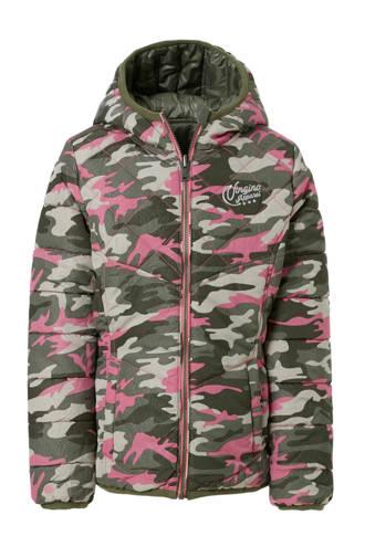omkeerbare winterjas Tarianne met camouflageprint