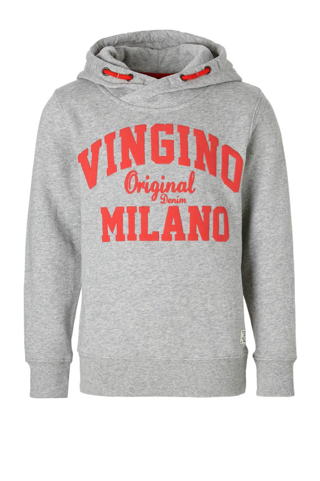 Vingino hoodie Nio met logo grijs, Grijs melange/rood