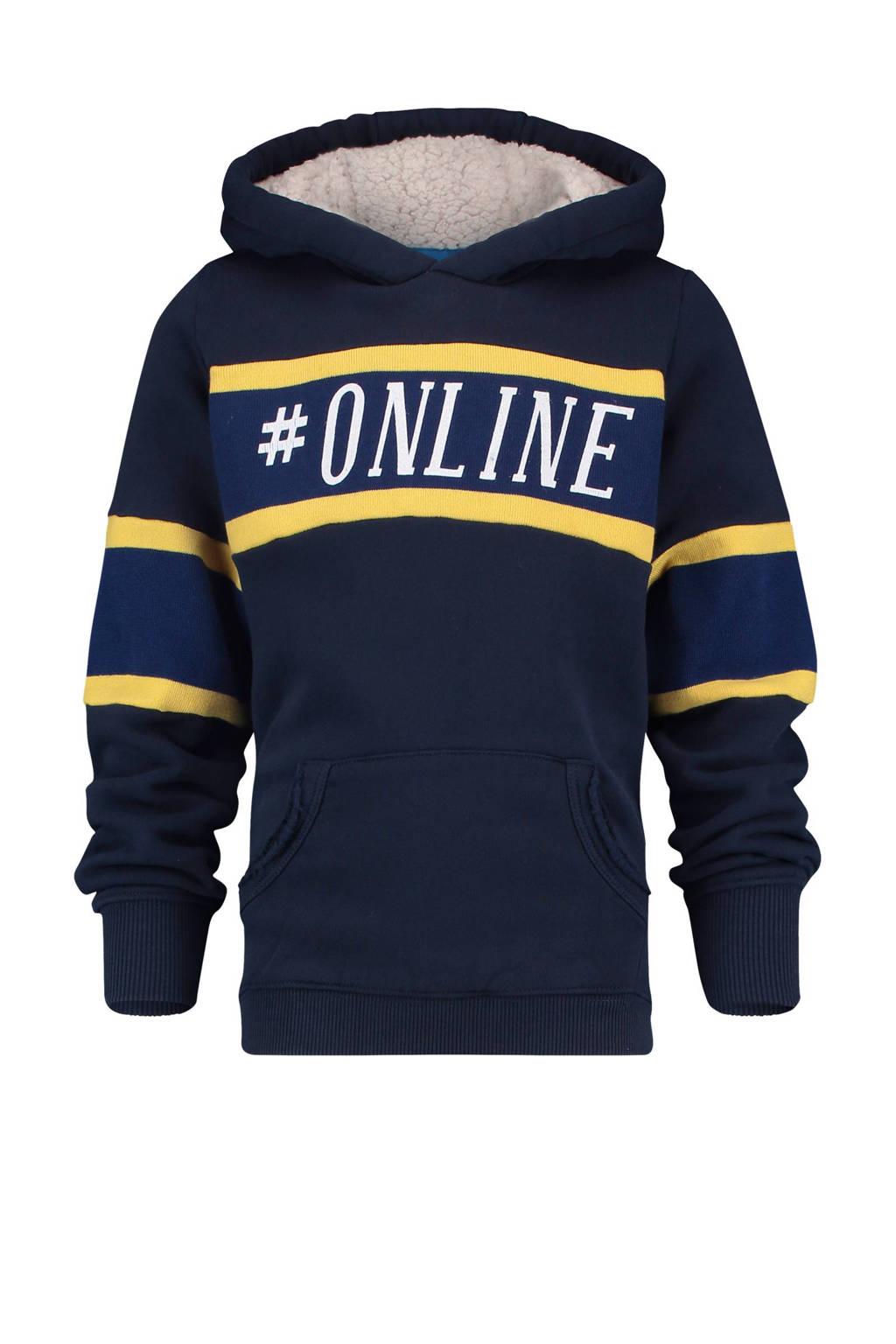 Vingino hoodie Nevada met tekst blauw, Donkerblauw/geel/wit