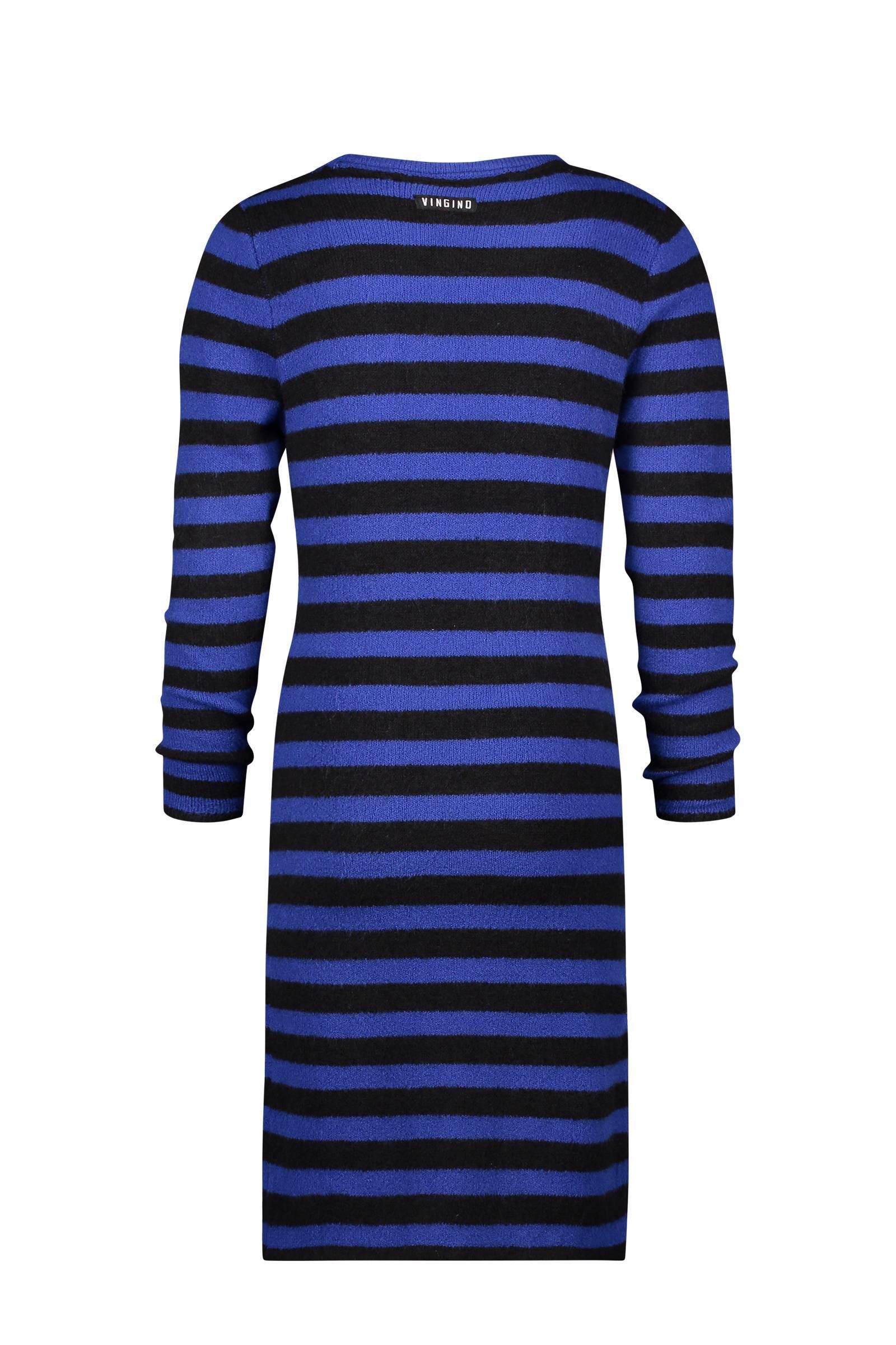 jurk blauw met zwart
