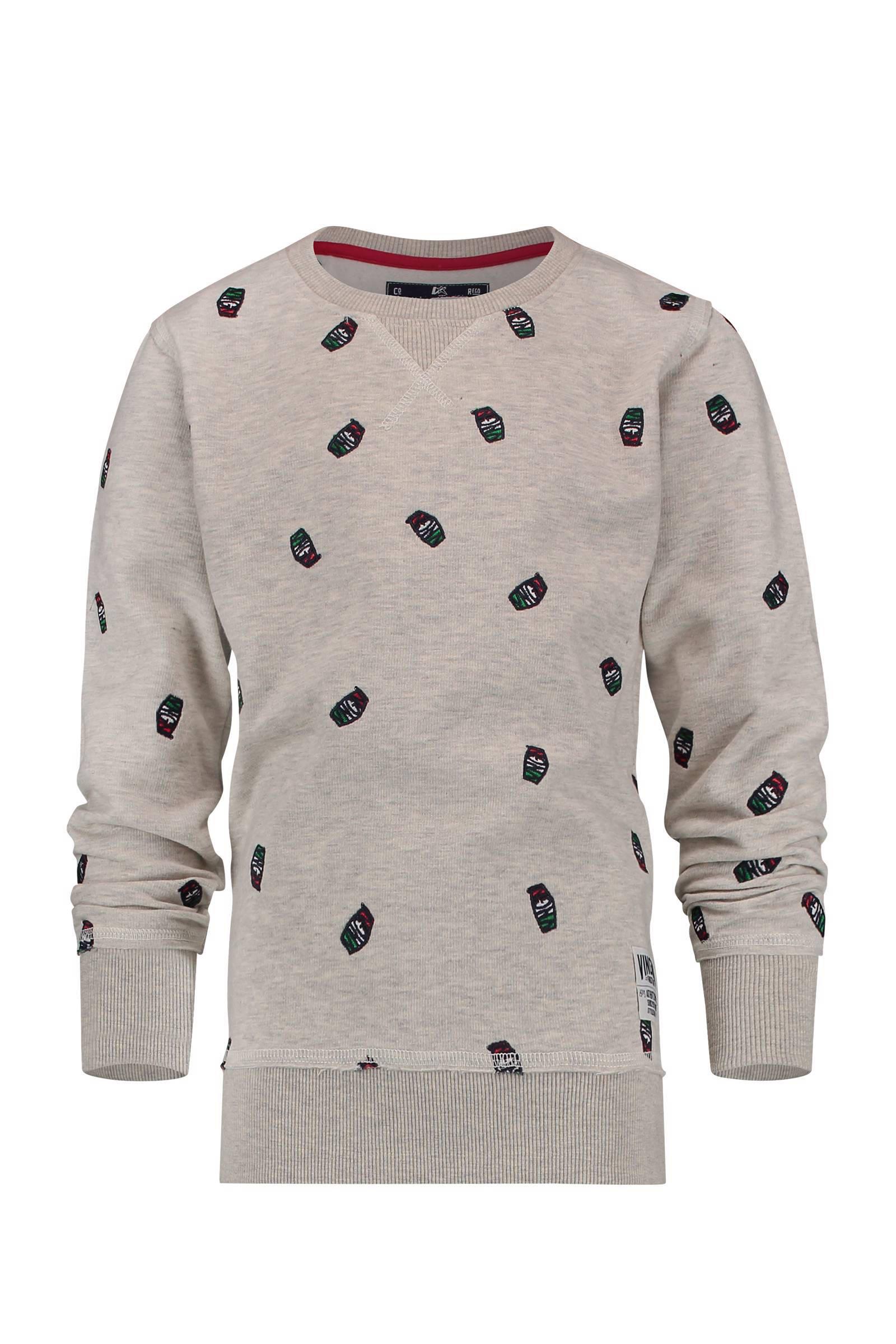 Vingino sweater Naviano met logo's grijs (jongens)