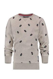 sweater Naviano met logo's grijs