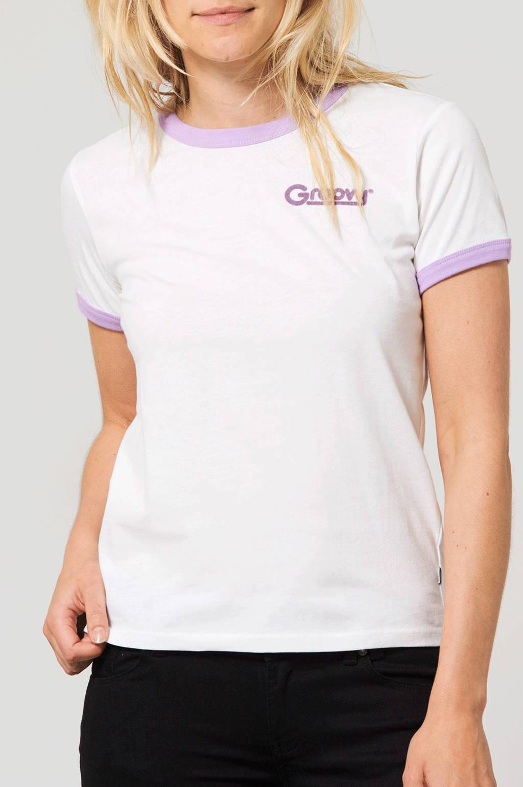 America Today T-shirt Emmie wit/lila, Wit/lila