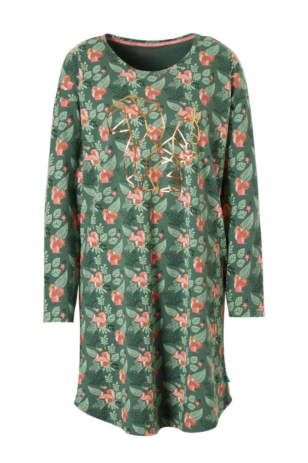 Charlie Choe nachthemd in all over print groen, Groen/Roze/Bruin