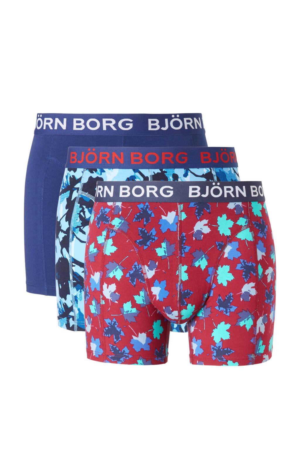 Björn Borg boxershorts (set van 3), Blauw/bordeaux