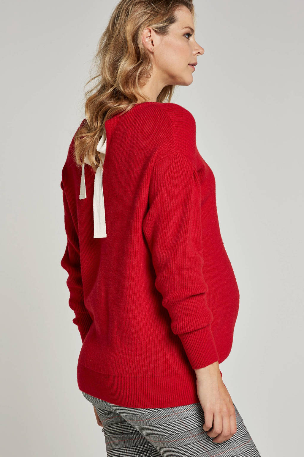MAMALICIOUS trui met linten, Rood/zwart