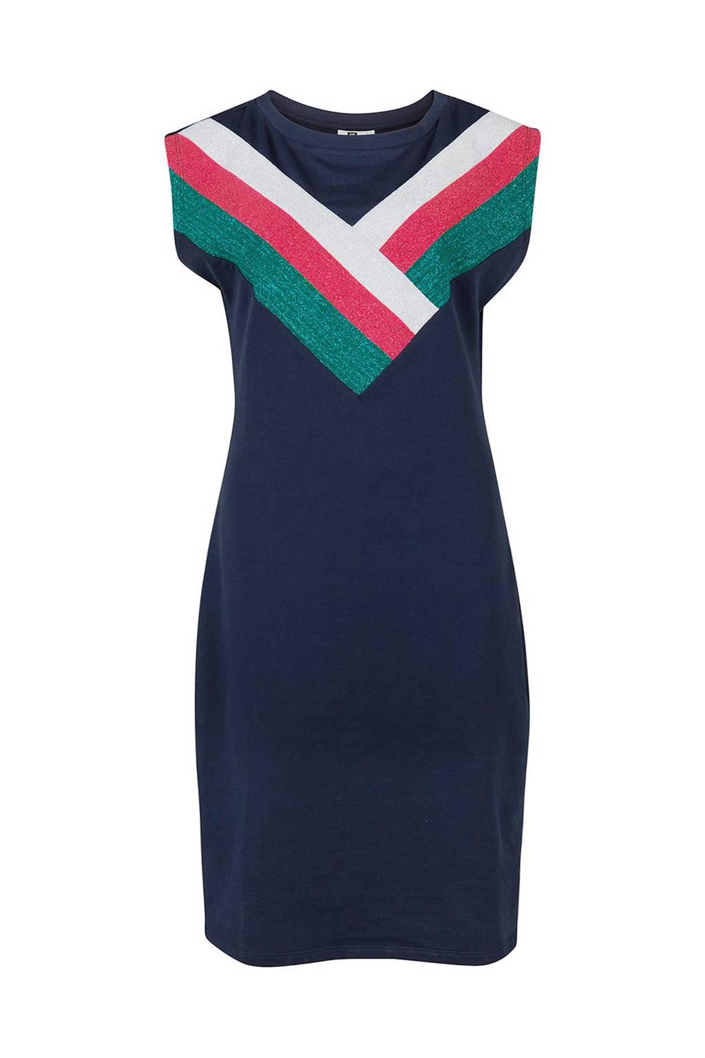 WE Fashion jurk met glitterdetail marineblauw, Marineblauw